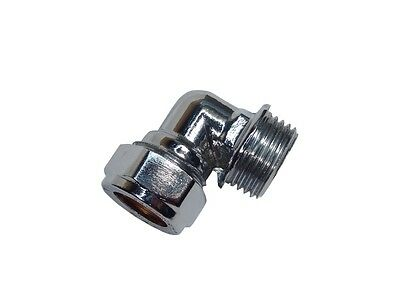 """Chrome Plated 15mm Compression x 1/2"""" BSP Male Elbow Fitting"""
