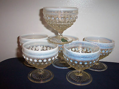 """Pattern Moonstone -Clear Opalescent Anchor Hocking Six 3 1/2"""" Champagne/Sherbet"""
