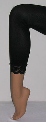New Footless Opaque Tights Capri Lace Trim Colours 10 Colours