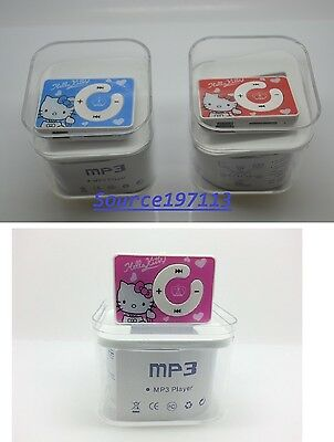 Cute Hello Kitty Mini Clip MP3 Music Player With Earphone&USB. Support 1-8g Card