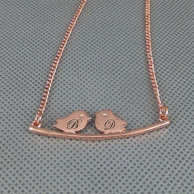 Personalized Love Birds Necklace in Rose Gold Choose Your Initials & Font