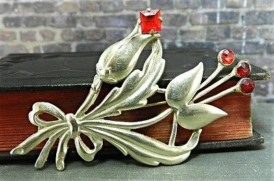 Vintage Sterling Silver Flower Bouquet Pin/ Brooch w Red Stones
