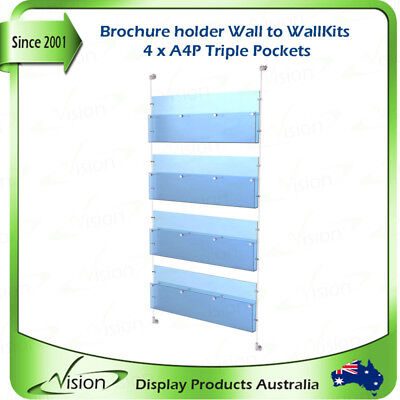 Brochure Holder A4 Triple Pockets x 4, Acrylics with Wall to Wall Cable Kits