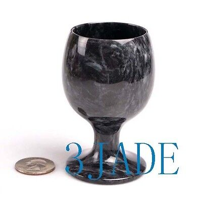 """3 1/2"""" Hand Carved Natural Stone Goblet Calcite Rock Wine Cup"""