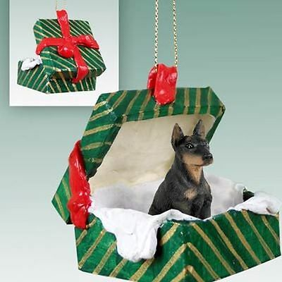 DOBERMAN Pinscher Black Dog Green Gift Box Holiday Christmas ORNAMENT