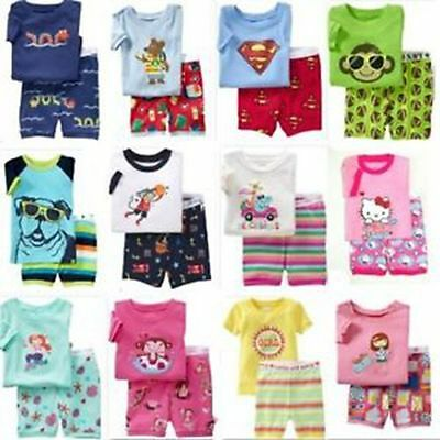 New Girls Boys 2 Pieces Pyjamas Sleepwear Set Short Sleeve Size 0,1,2,3,4,5,6,7