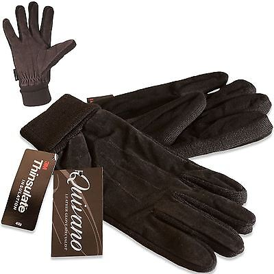 Quivano Mens Suede Leather Gloves Thinsulate Lined Elasticated Cuff 321-200