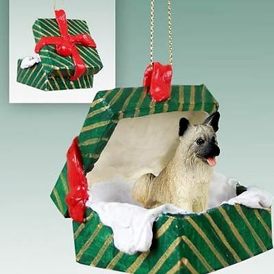 AKITA Fawn Dog Green Gift Box Holiday Christmas ORNAMENT