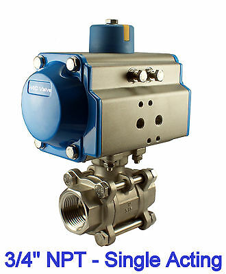 """3/4"""" Inch Pneumatic Air Actuated Stainless 3 Pieces Ball Valve Single Acting  NC"""