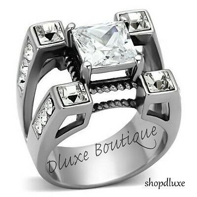 Men's Princess Cut Simulated Diamond Silver Stainless Steel Ring Size 8-14