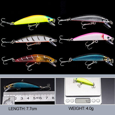 "Lot 4pcs Plastic Minnow Fishing Lures Floating Rattles 7cm/2.76""/3.9g"