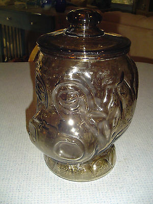Vintage Libbey Glass BIG TOP HIPPO Clear Brown Glass Cookie Jar