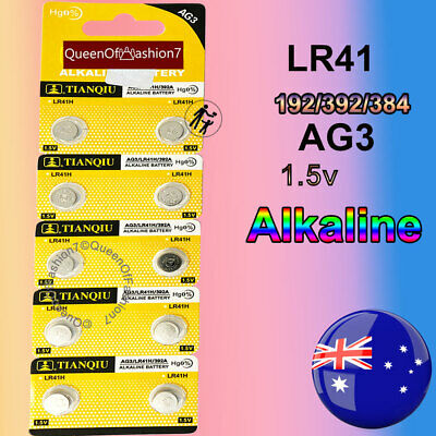 10 x LR41 Battery 1.5V Alkaline Button Cell Batteries 192/AG3/392