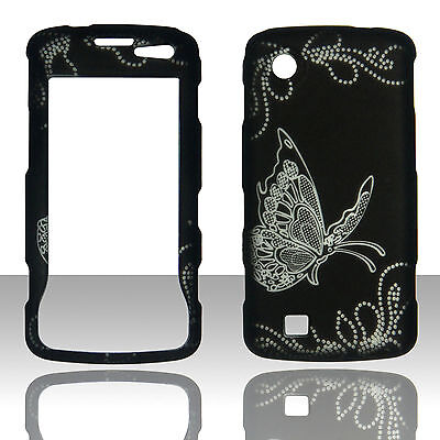 Silver Butterfly on Blk  LG Chocolate Touch / Samba Vx8575 Case Hard Cover Snap
