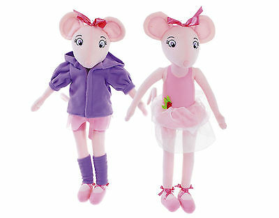 "New Official 17"" Twin Pair Of Angelina Ballerina Doll Plush Soft Toy"