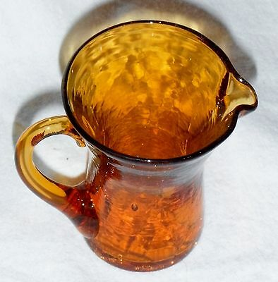 VINTAGE CRACKLE GLASS GOLD PITCHER 3 1/4 INCHES TALL