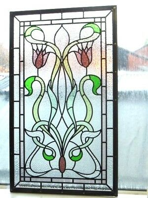 Victorian Edwardian Stained Glass Panels Hand Made Leaded Light Glass Made 082