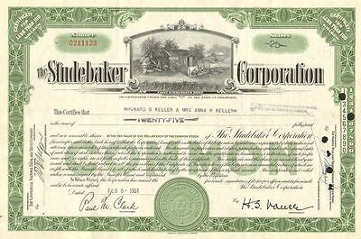 The Studebaker Corporation   auto car stock certificate