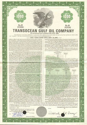 Transocean Gulf Oil Company   $1,000 bond certificate stock share