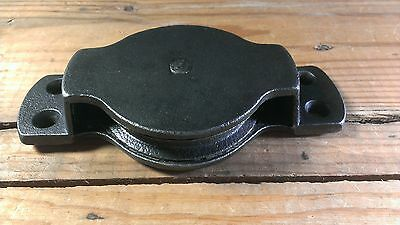 Antique Cast Iron Flat Mount Pulley- Antique