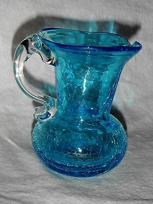 VINTAGE CRACKLE GLASS TURQUOISE BLUE PITCHER 3 1/2 INCHES TALL