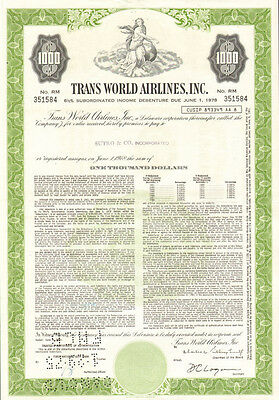 Trans World Airlines   $1,000 TWA bond certificate stock share