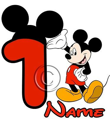 IRON ON TRANSFER PERSONALISED birthday ANY NAME (# UP TO 5) MICKEY MOUSE 14x14