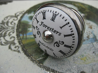 Antique/vintage style CLOCK FACE silver/white ceramic DOOR drawer KNOB