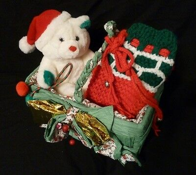 CHRISTMAS - NEW - Set with Teddy Bear, Knitted Stocking & Basket