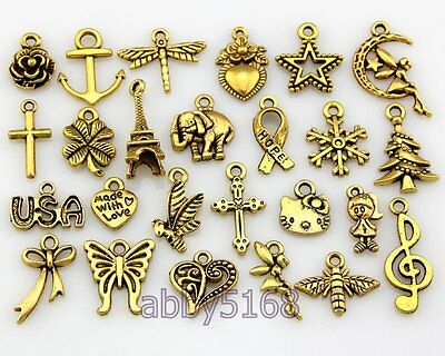 FreeShip Wholesale Bulk Lots Antique Gold Plated Mix Pendants Charms DY48