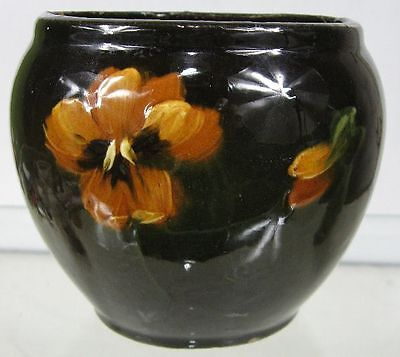 Vintage Early 1900's Weller Brown With Poppy Vase Planter