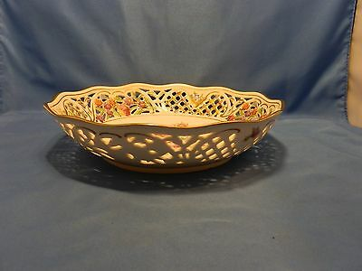 """Vintage Schumann Germany Us Zone """"chateau"""" Bowl Filigree / Reticulated Sides"""