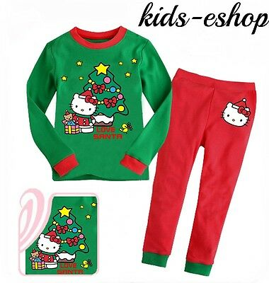 HELLO KITTY GIRLS CHRISTMAS PYJAMA SET Xmas NIGHTWEAR CHRISTMAS GIFT 18M-7YRS
