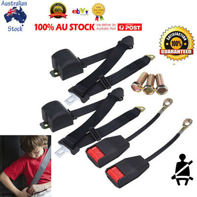 2* Universal Seat Belts 3 Point Automatic Belt Retractable Seat Harness Belt AU