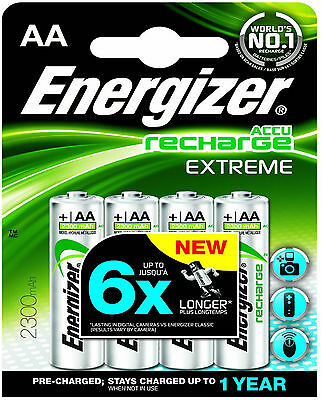 4 x ENERGIZER AA 2300 mAh ACCU RECHARGEABLE EXTREME BATTERIES HR6 NiMAH CAMERA