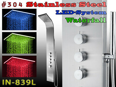839L STAINLESS STEEL INOX LED WATERFALL Shower Panel, Massage Jets, column tower