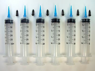 6 Syringes 30ml 22 Gauge Blue Tips Caps Dispense Adhesives Glue Gel Crafts LL22