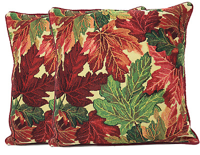Set of 2 Orange Brown Leaves Fall Foliage Tapestry Cushion Throw Pillow Cover