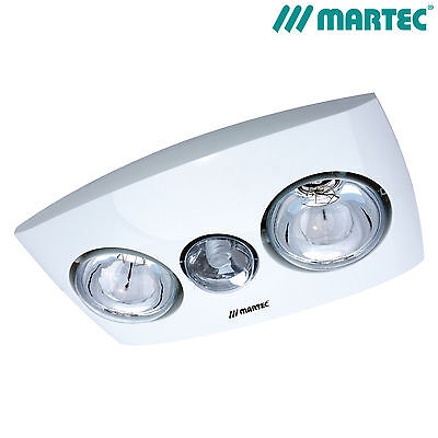 Martec Contour 2 Bathroom 3 In 1 Heat Light Exhaust Fan White W/ Fluoro Mbhc2Lw