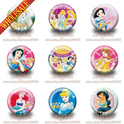 18-90PCS For Princess Tin Button pin badges 3.0CM Fashion Clothes/Bag Decoration
