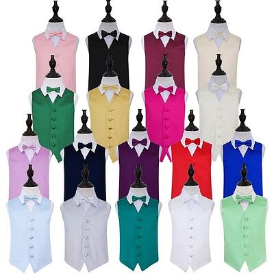 DQT Premium Satin Solid Plain Page Boy Vest Wedding Boy's Waistcoat & Bow Tie