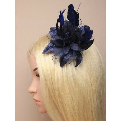 Lily Flower Feather Fascinator Dusky Pink/ Silver, Grey/ Cream/ Brown/ Navy Blue