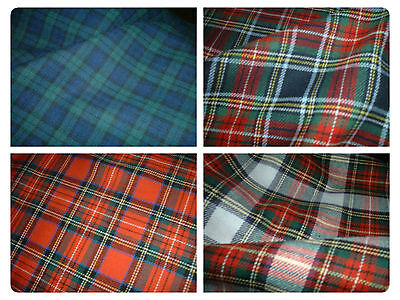 "100% Brushed Cotton Soft Tartan Fabric - 150cm (59"") wide -4 Styles inc Stewart."