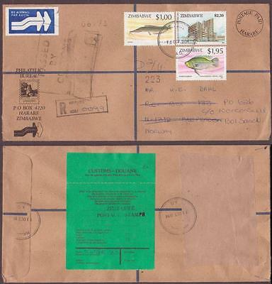Zimbabwe Registered Cover to Norway 1994. Fishes Bream Barbel