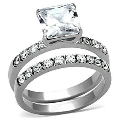 2.86 Ct Princess Cut CZ Stainless Steel Womens Engagement Anniversary RING SET
