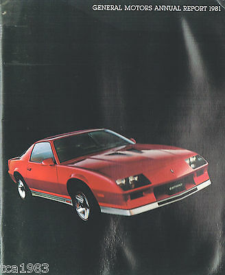 GM General Motors ANNUAL REPORT to Stockholders Brochure w/1982 CAMARO,Holden,