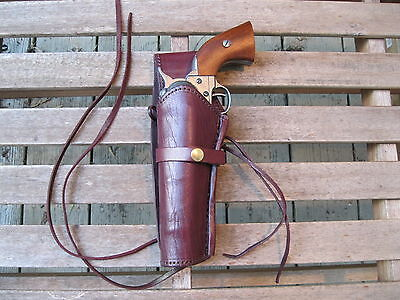 "Western Holster - Left Handed - 6"" to 8"" Barrel- Wine - Smooth - Genuine Leather"