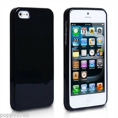 New High Gloss Silicone Case Skin Cover For Apple iPhone 5 & 5S Shiny Black