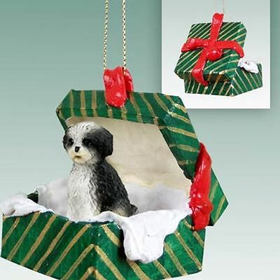 SHIH TZU Black White Sport Cut Dog Green Gift Box Christmas Holiday ORNAMENT