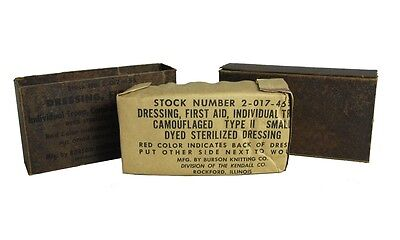 US Army FIRST FIELD DRESSING Original M56 Aid Packet Carlisle WW2 Type 2 Small